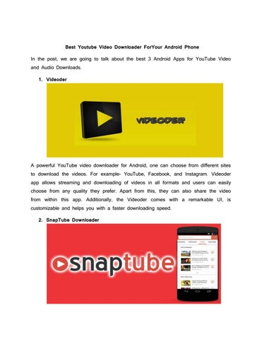 Best youtube video downloader for your android phone by