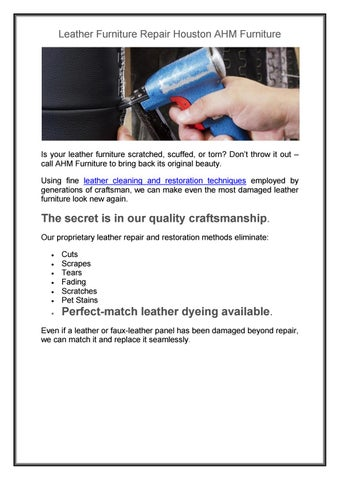 Page 1. Leather Furniture Repair Houston ...