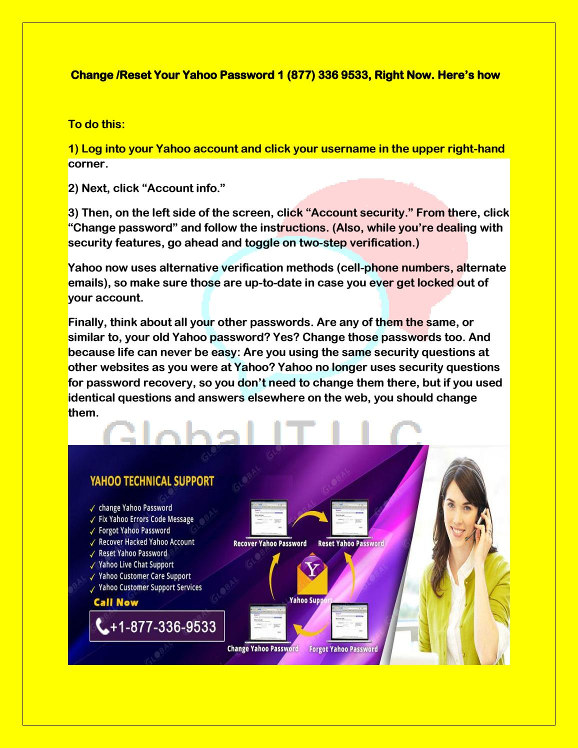 Change / Reset your yahoo password 1 (877) 336 9533, right