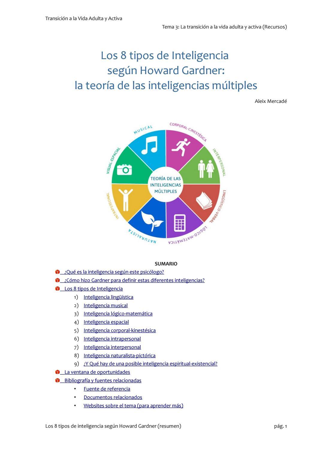 Los 8 Tipos De Inteligencia Segun Howard Gardner By Nicole Guerrero Issuu