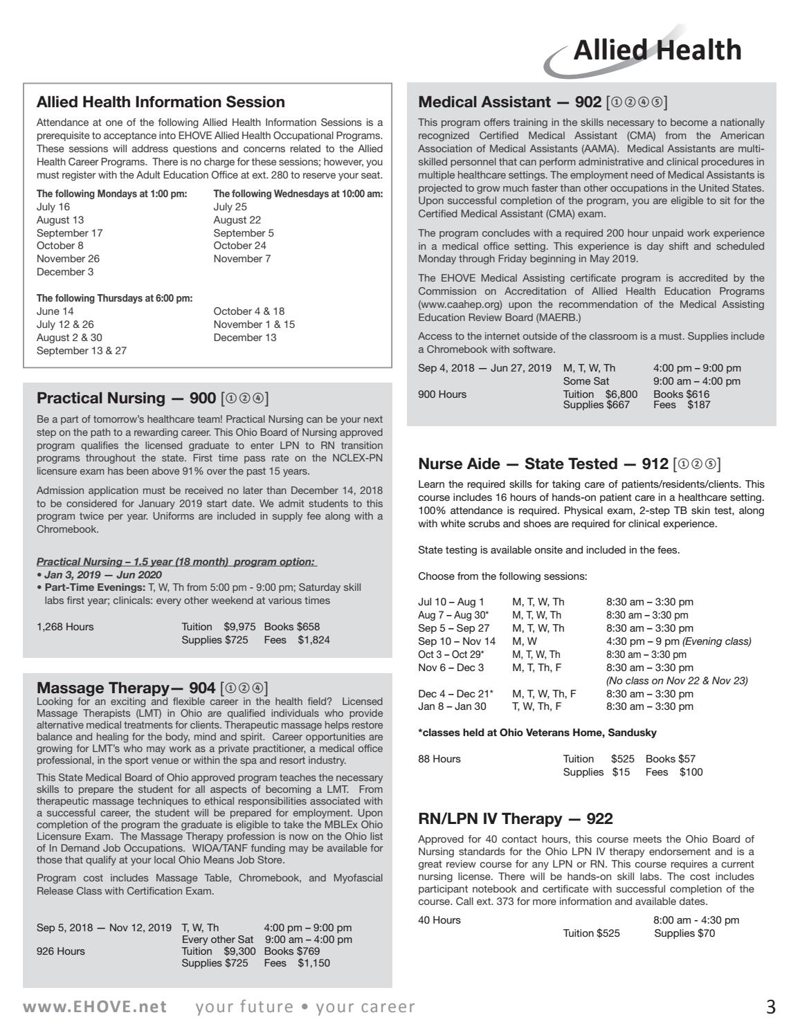 6b3dd7773e 2018 Fall Course Catalog by EHOVE Adult Career Center - issuu