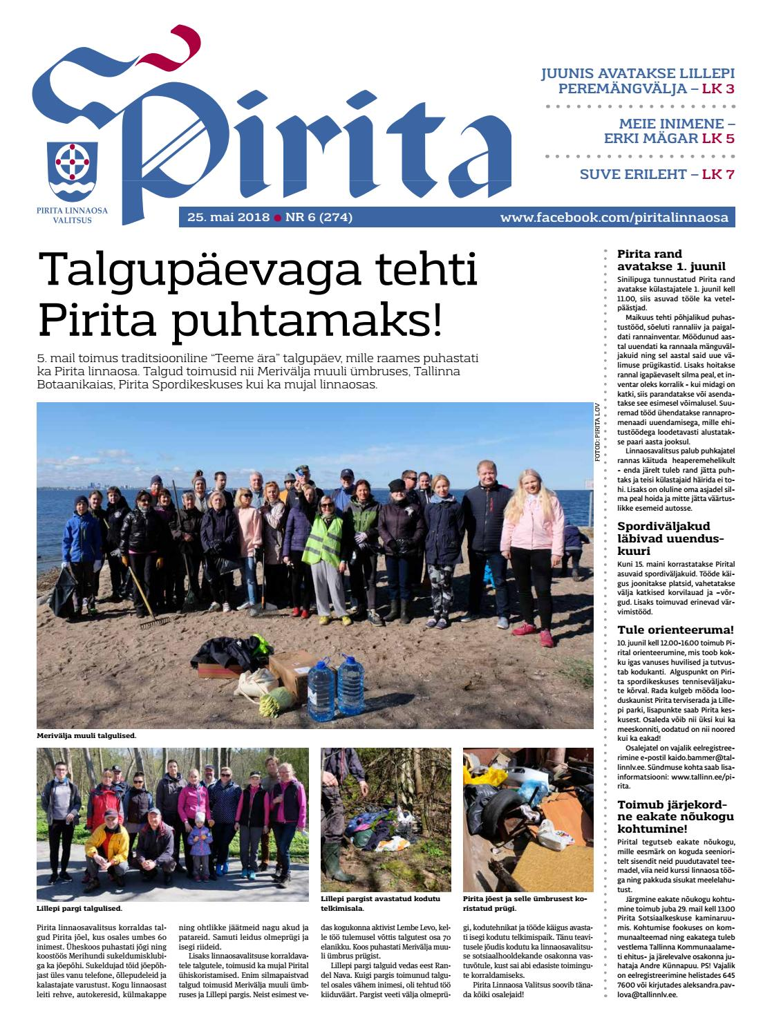 7c7091801db Pirita ajaleht 25. mai 2018 by Piritalinnaosavalitsus - issuu
