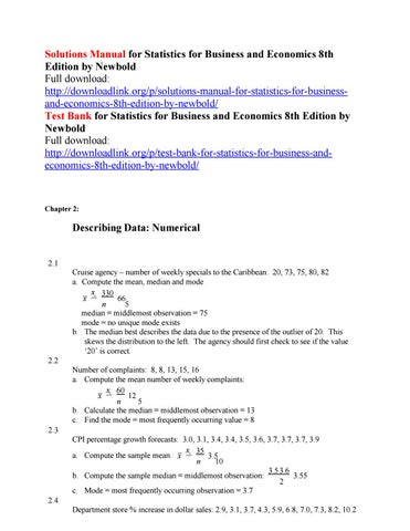 Solutions manual for statistics for business and economics