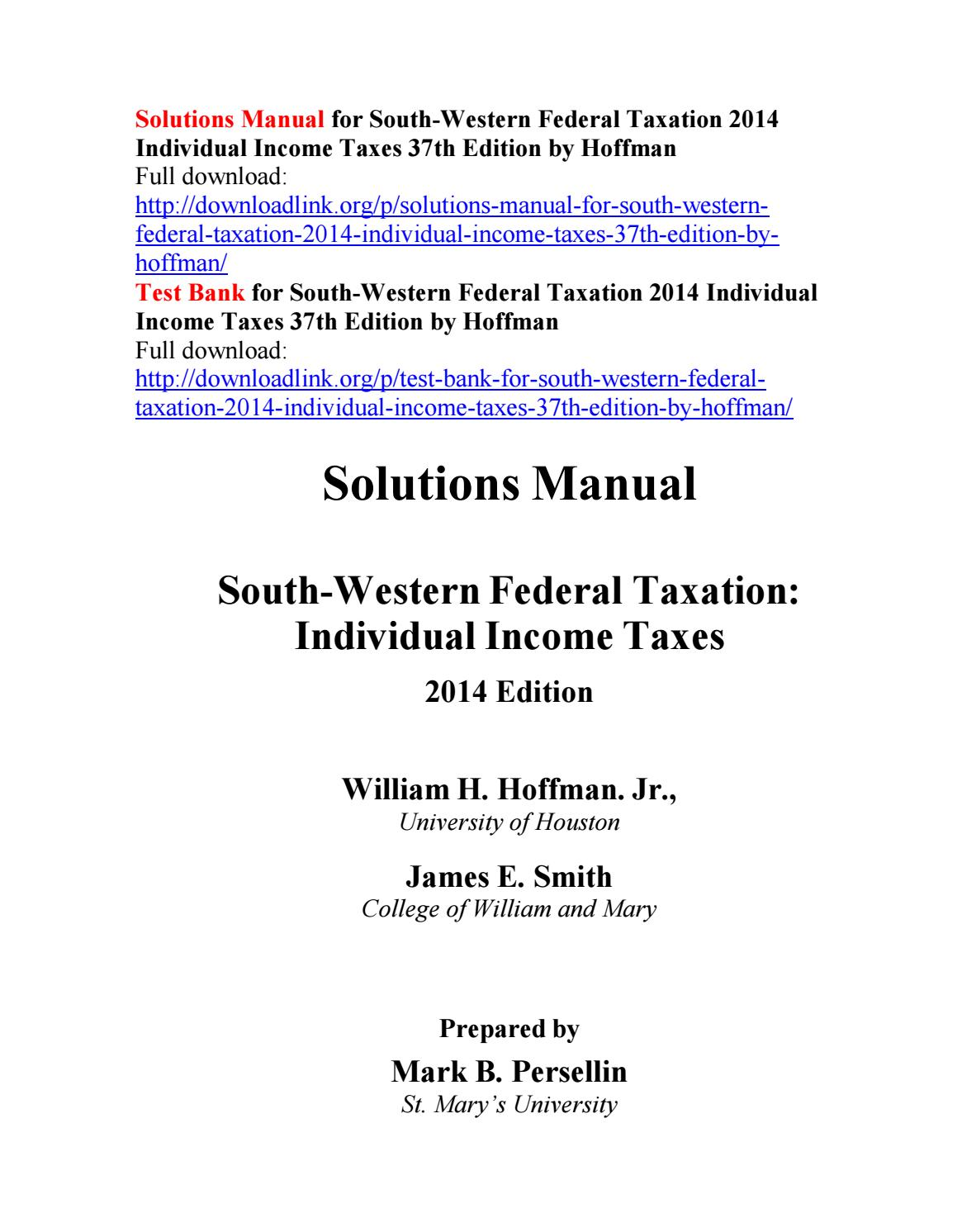 Solutions manual for south western federal taxation 2014 individual income  taxes 37th edition by hof by Nickelr111 - issuu
