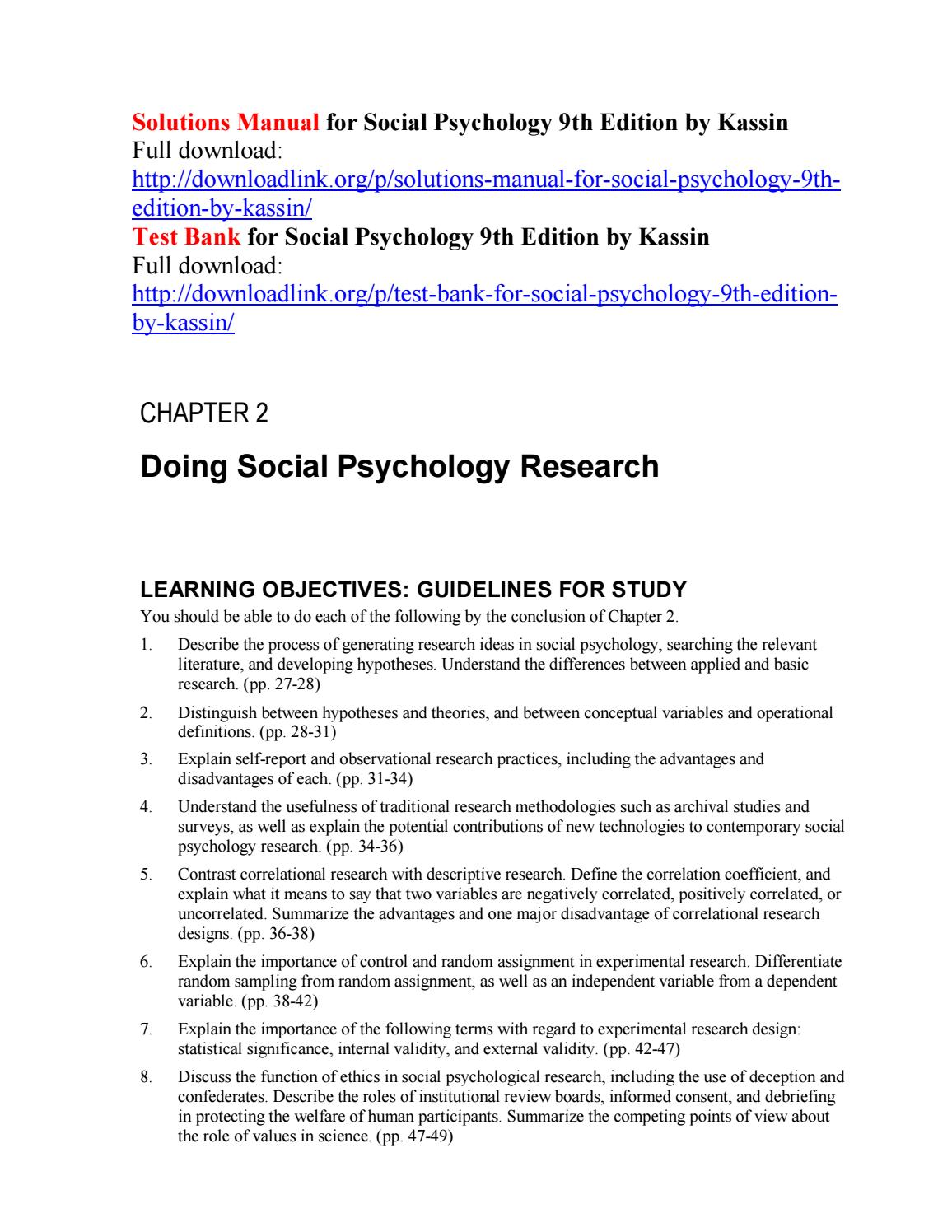 Solutions manual for social psychology 9th edition by kassin by Nickelr111  - issuu