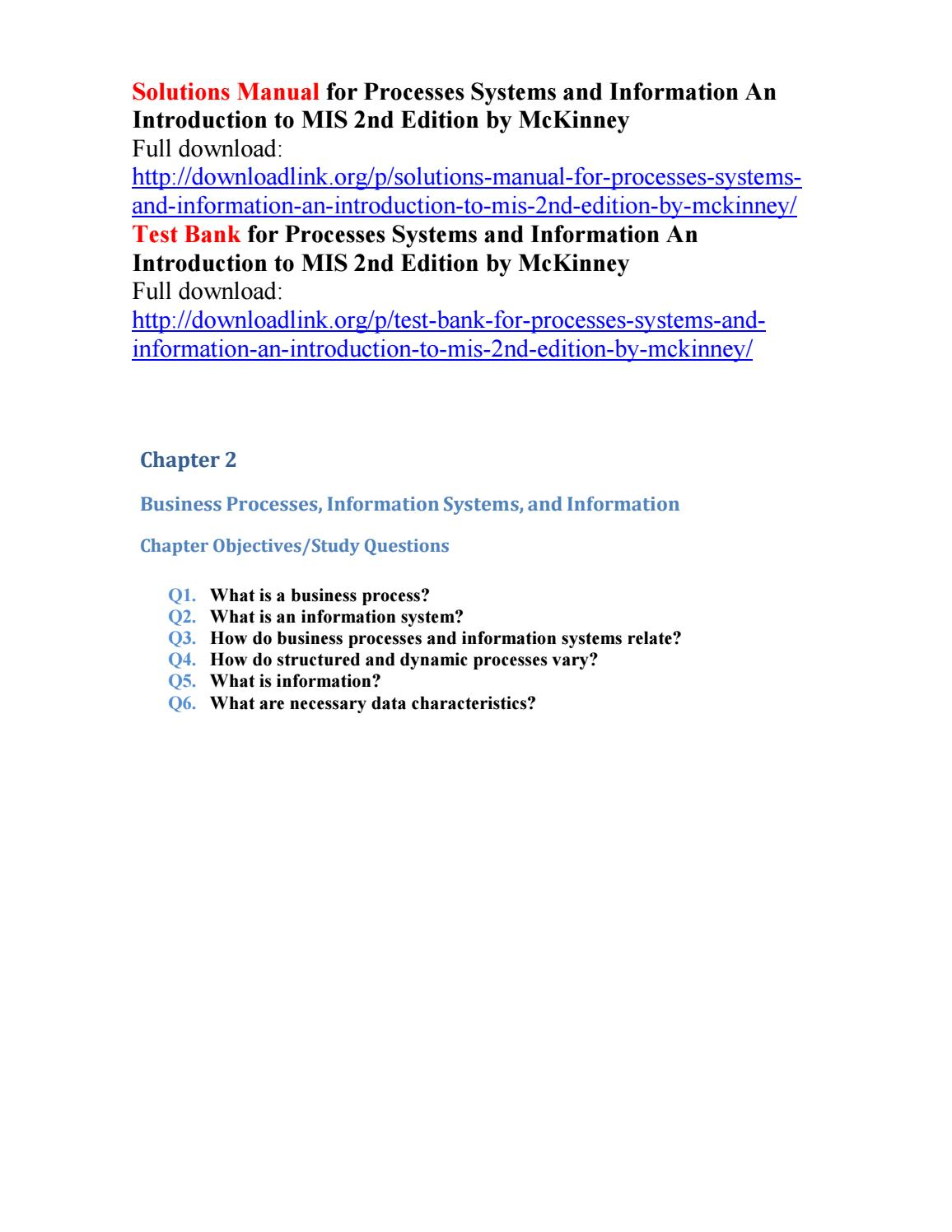 Solutions manual for processes systems and information an