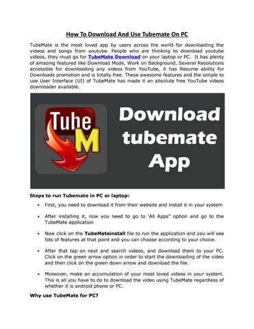 How to download and use tubemate on pc by 9appsdownload - issuu