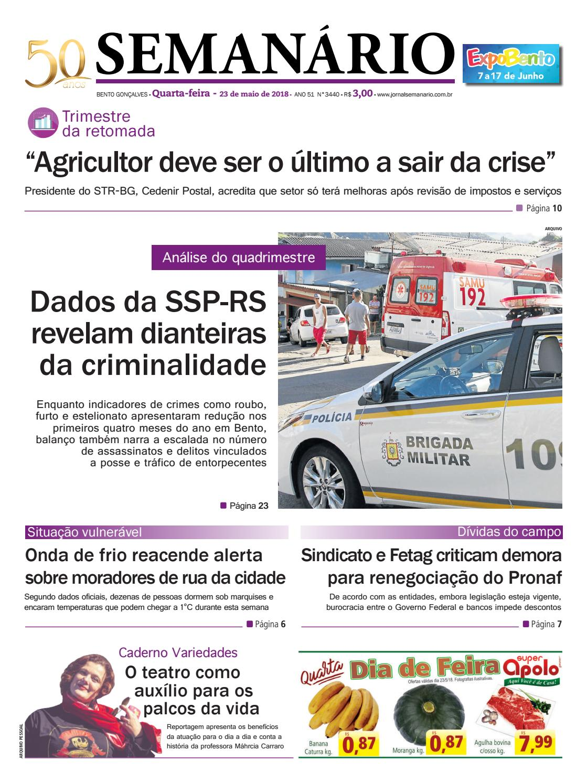 ba71e1d488050 Jornal Semanário – 23 de maio de 2018 – Ano 51 – Nº 3440 by Jornal  Semanário - Bento Gonçalves - RS - issuu