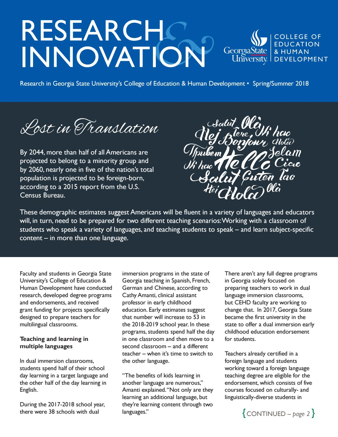 Research Innovation Springsummer 2018 By Georgia State