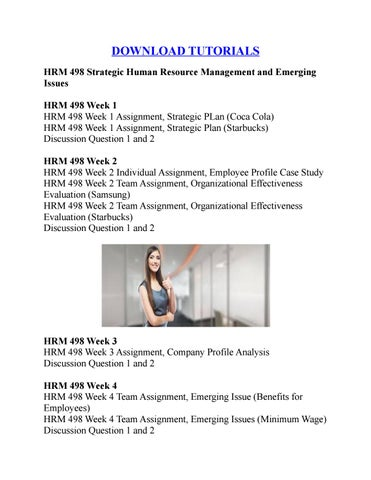 HRM 498 Strategic Human Resource Management and Emerging Issues by