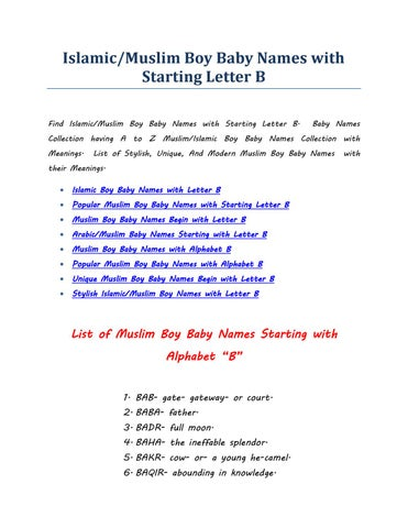 Islamic muslim boy baby names with starting letter b by Techno