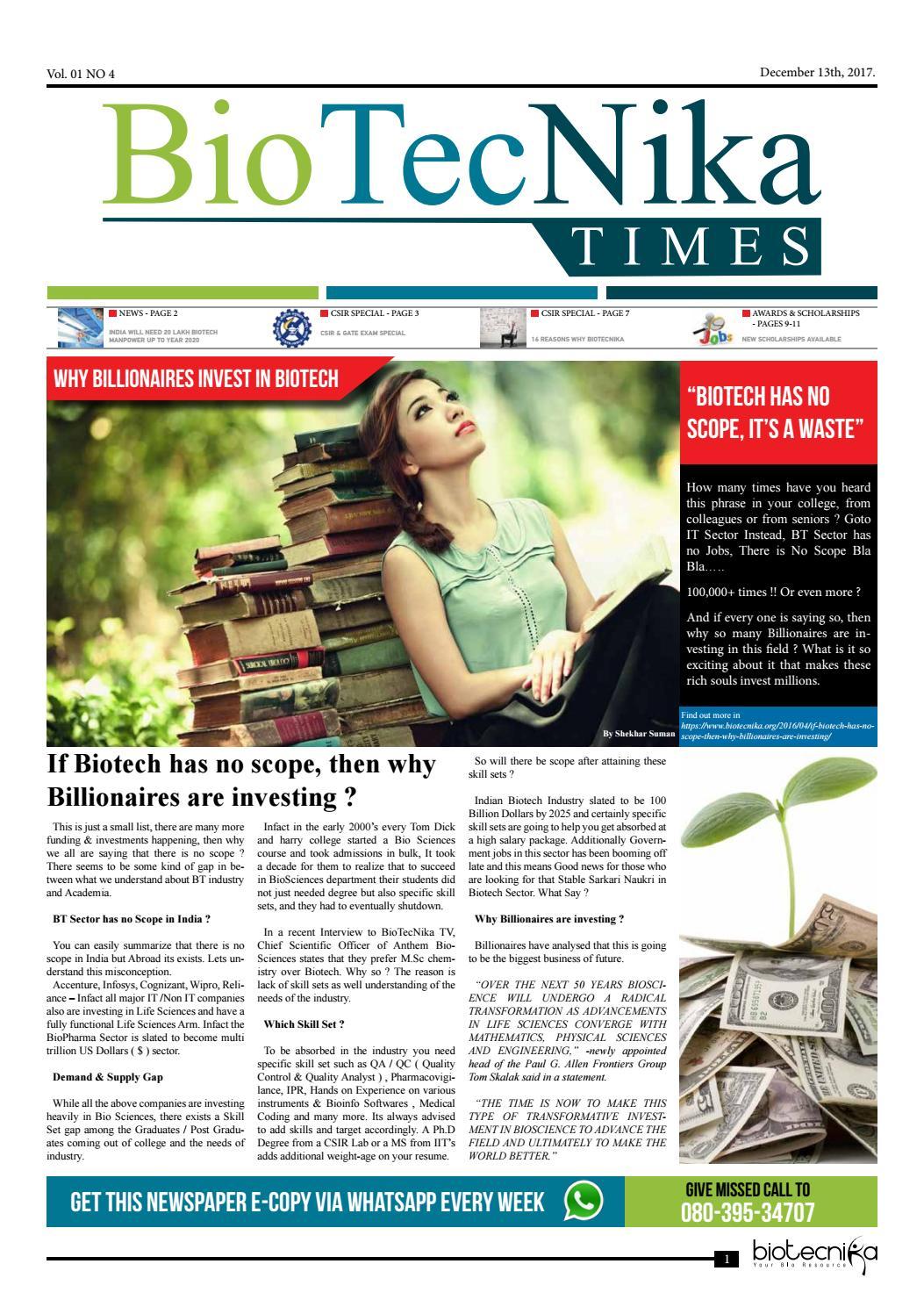 Biotecnika newspaper 13 dec 2017 by BioTecNika - issuu