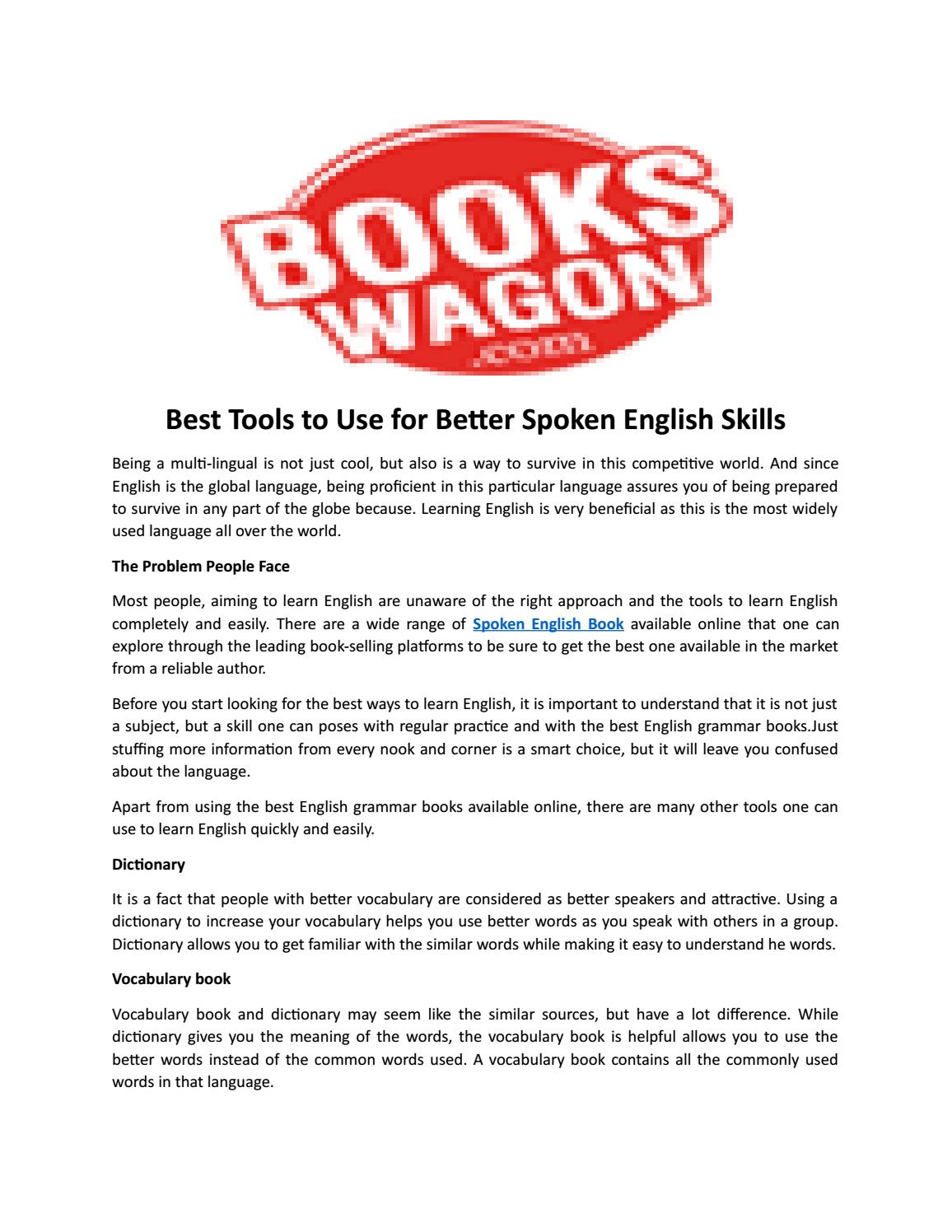 Best tools to use for better spoken english skills by Books