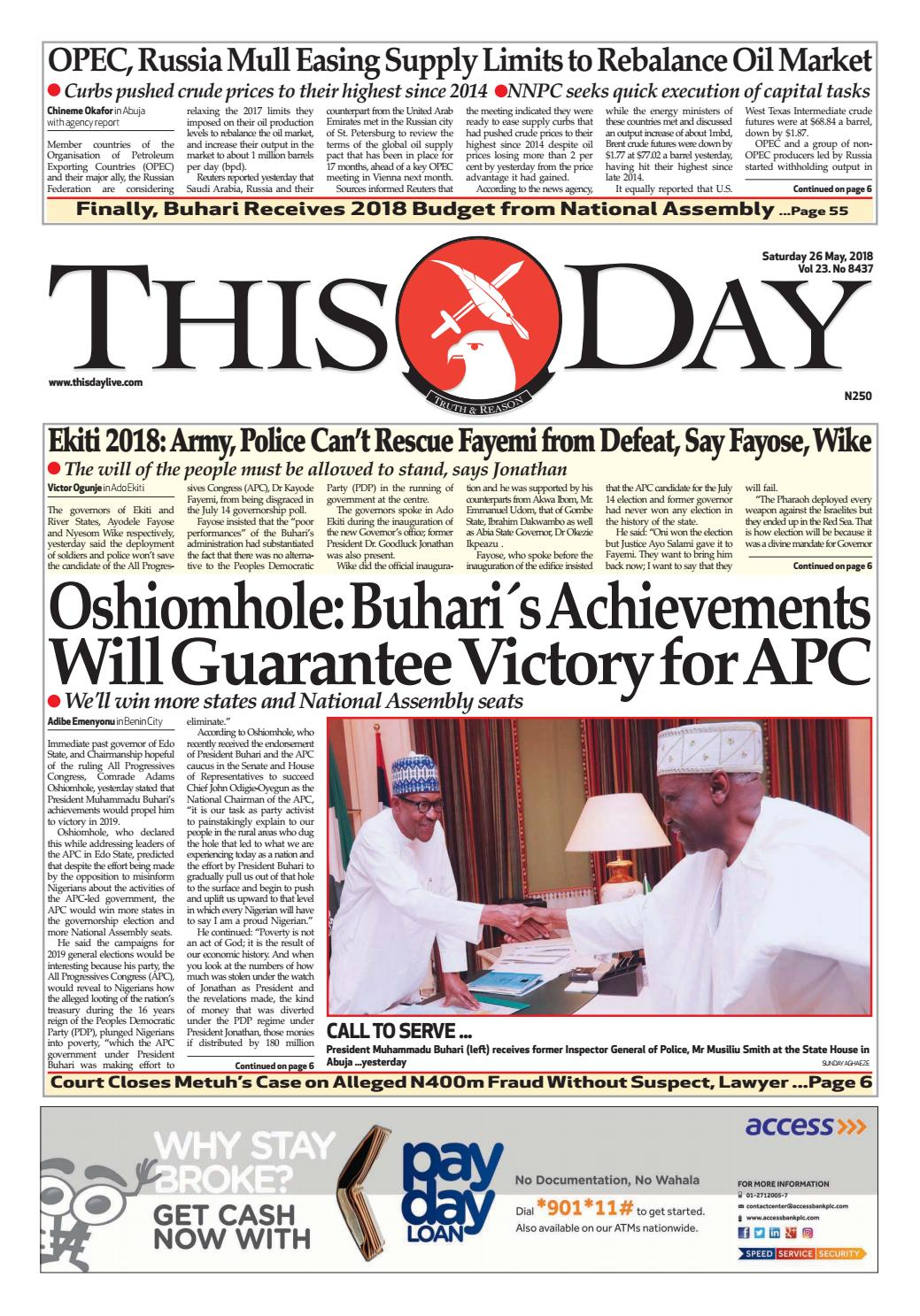 e57003fdbcf Saturday 26th May 2018 by THISDAY Newspapers Ltd - issuu