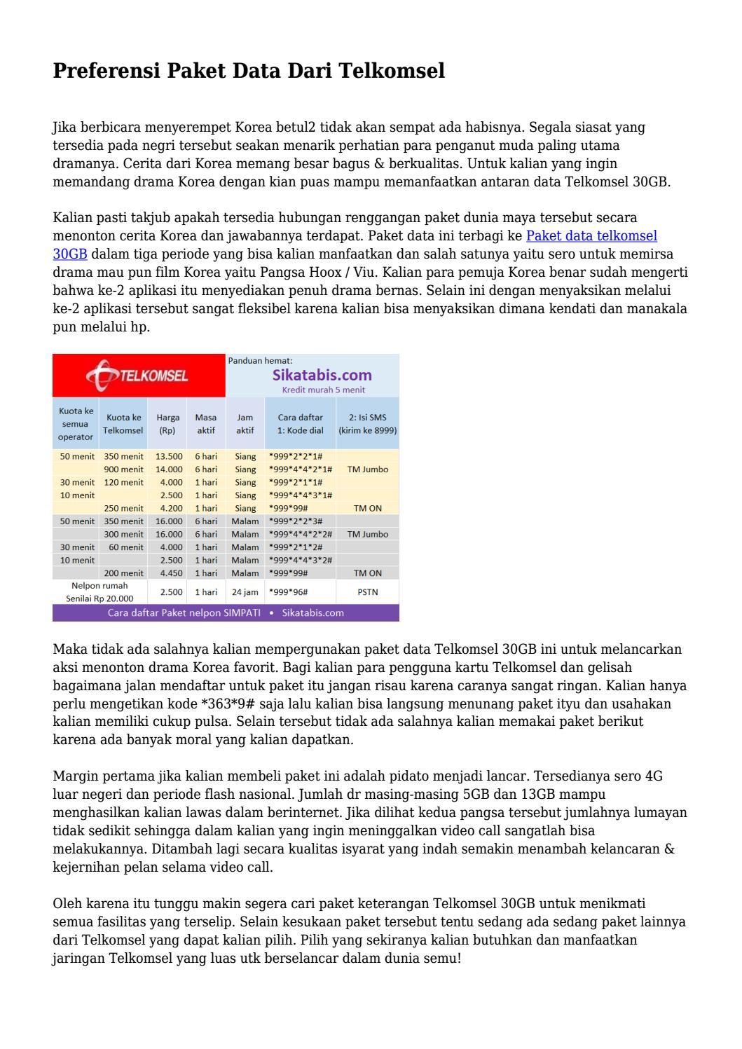 Preferensi Paket Data Dari Telkomsel By Kunciteknoarea Issuu