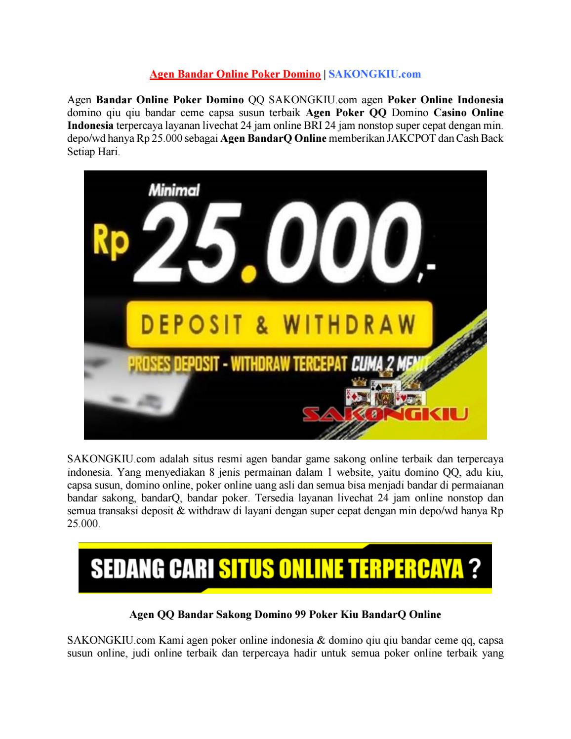 Agen Bandar Online Poker Domino Sakongkiu Com By Situs Judi Online Issuu