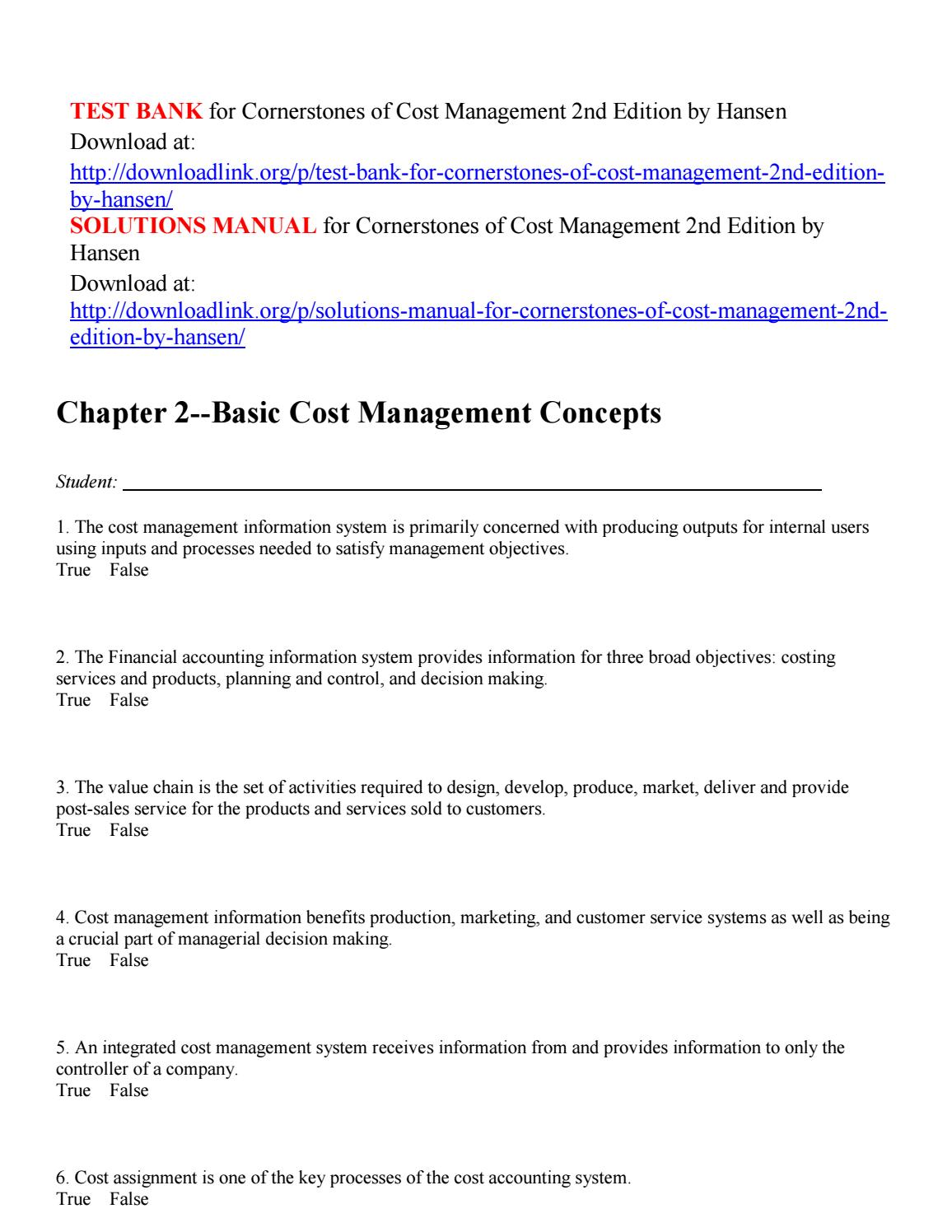 Test bank for cornerstones of cost management 2nd edition by hansen by  Kloppenborg - issuu