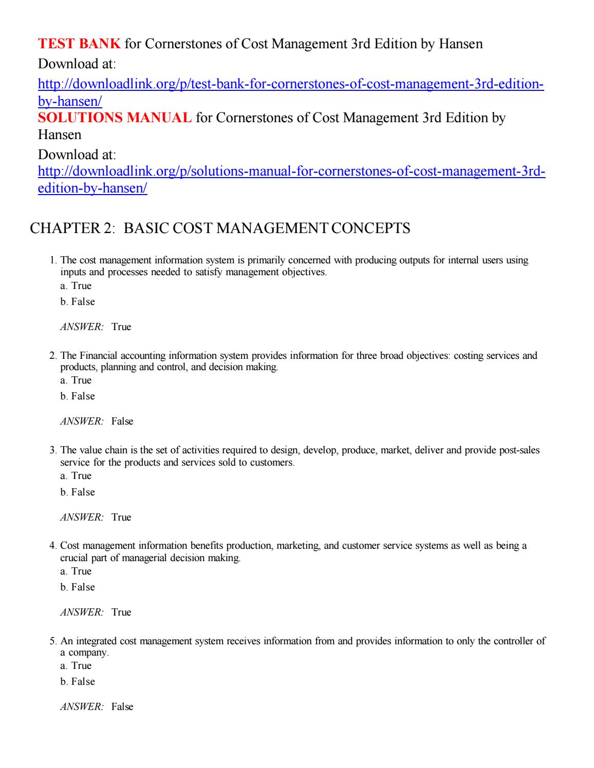 Test bank for cornerstones of cost management 3rd edition by hansen by  Kloppenborg - issuu