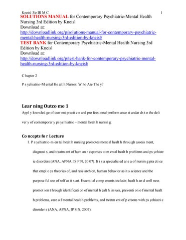 Solutions Manual For Contemporary Psychiatric Mental Health Nursing