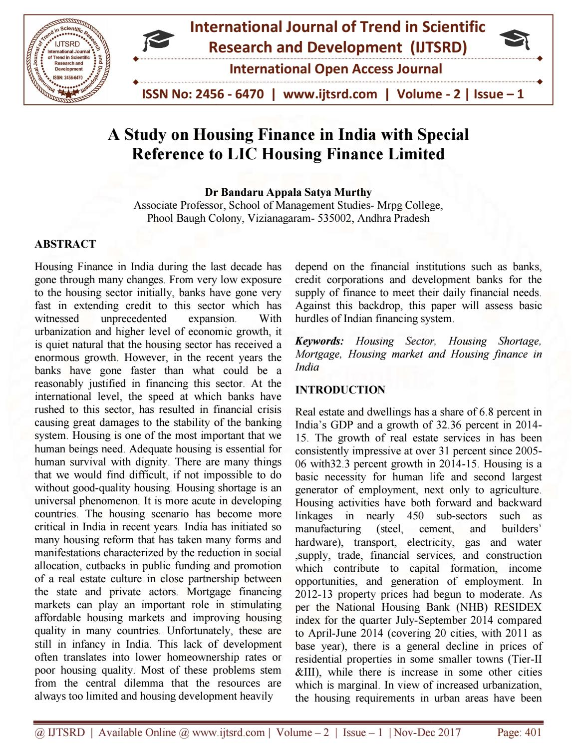 A Study on Housing Finance in India with Special Reference to LIC Housing  Finance Limited