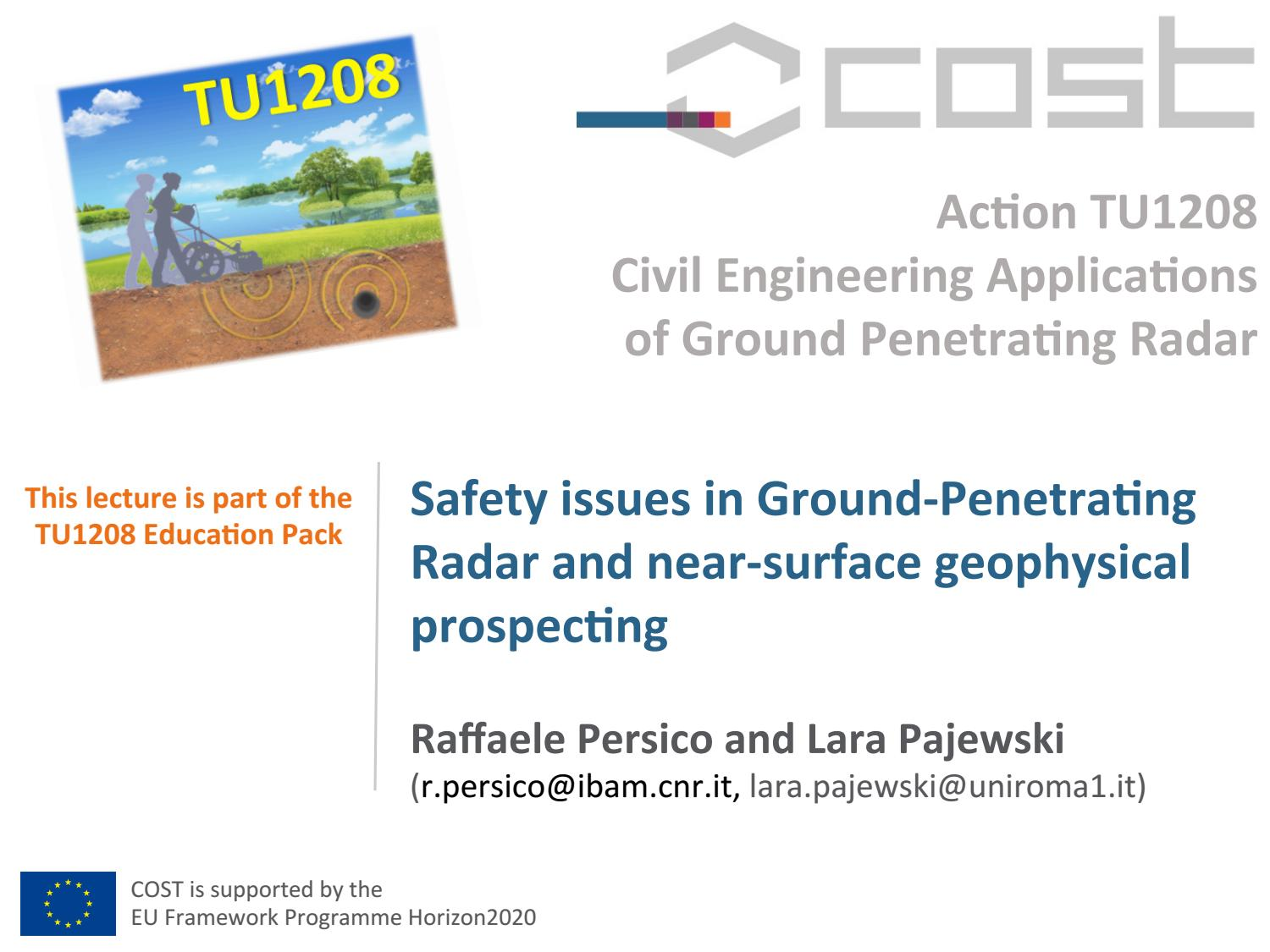 Safety issues in Ground Penetrating Radar and near-surface