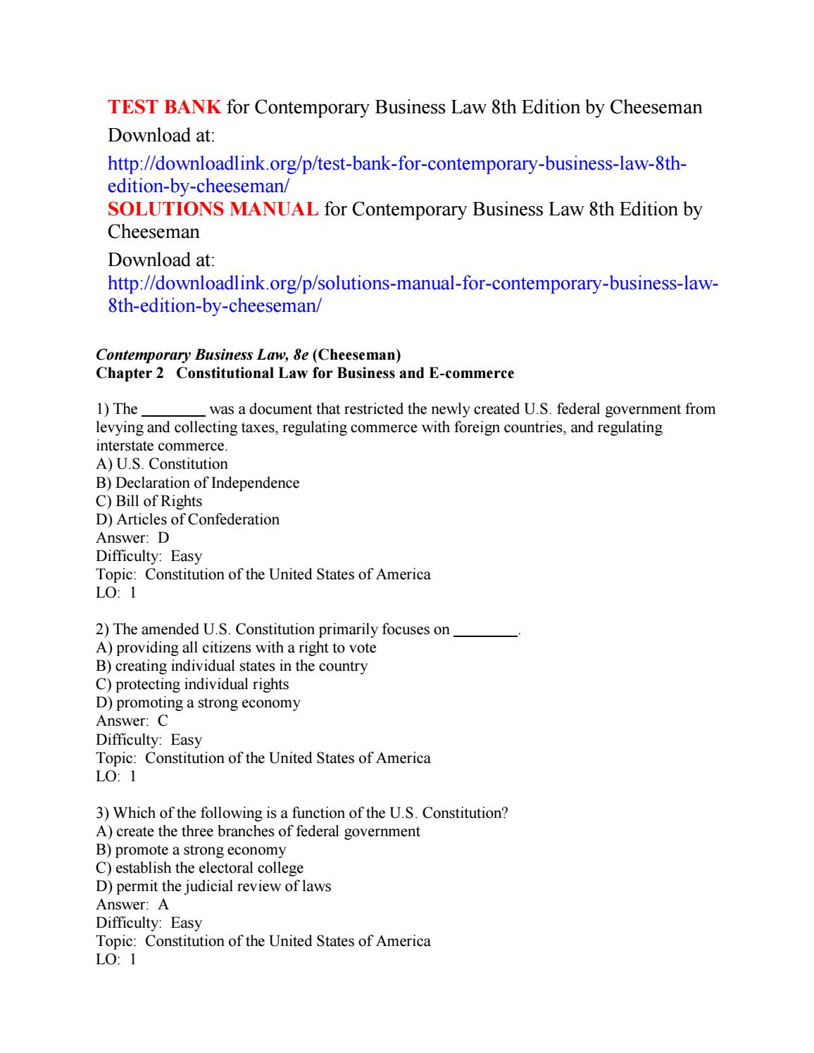 Test bank for contemporary business law 8th edition by cheeseman by  SolomonChee - issuu