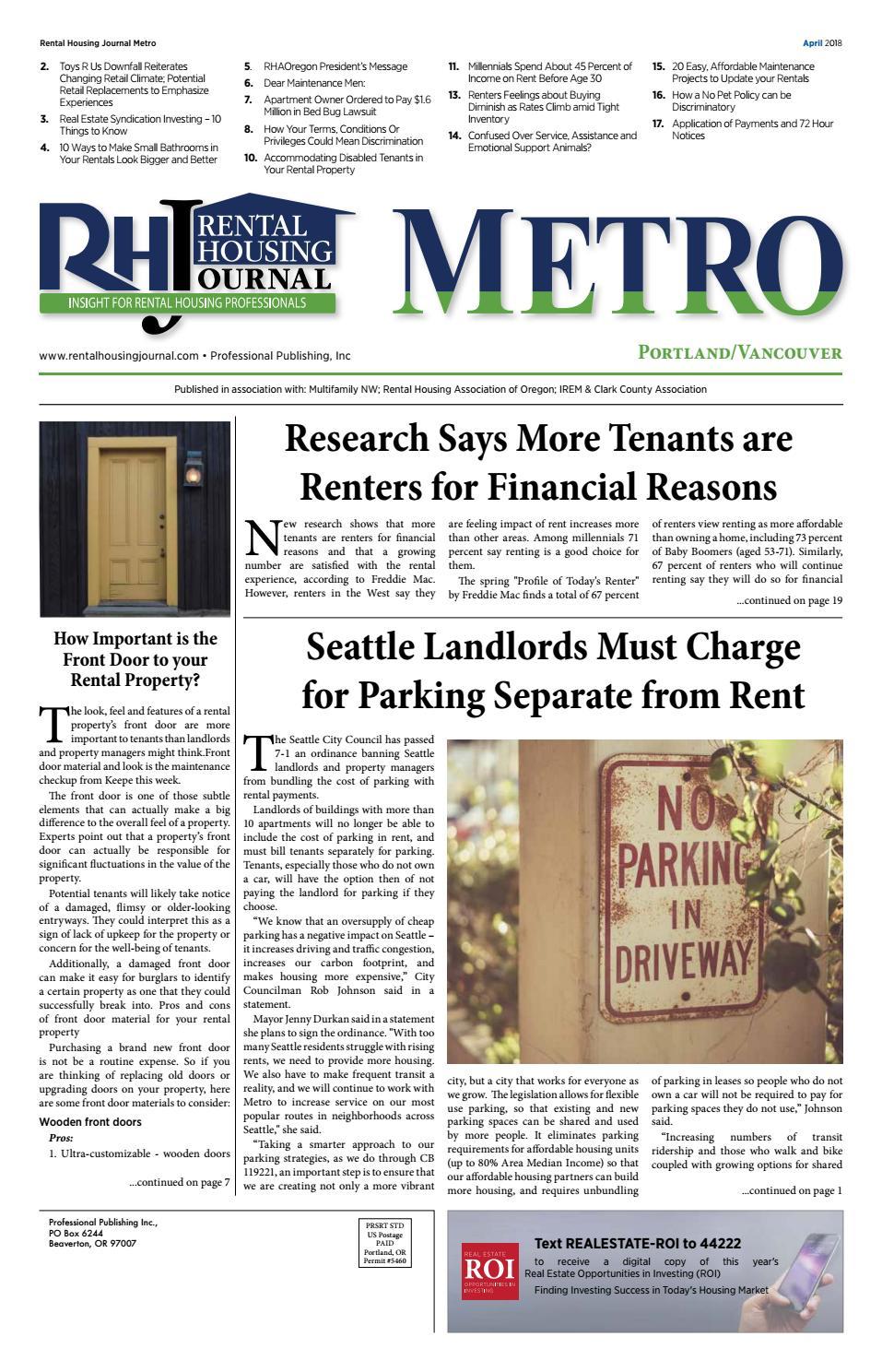 Metro ( Portland ) RHJ April 2018 by Professional Publishing