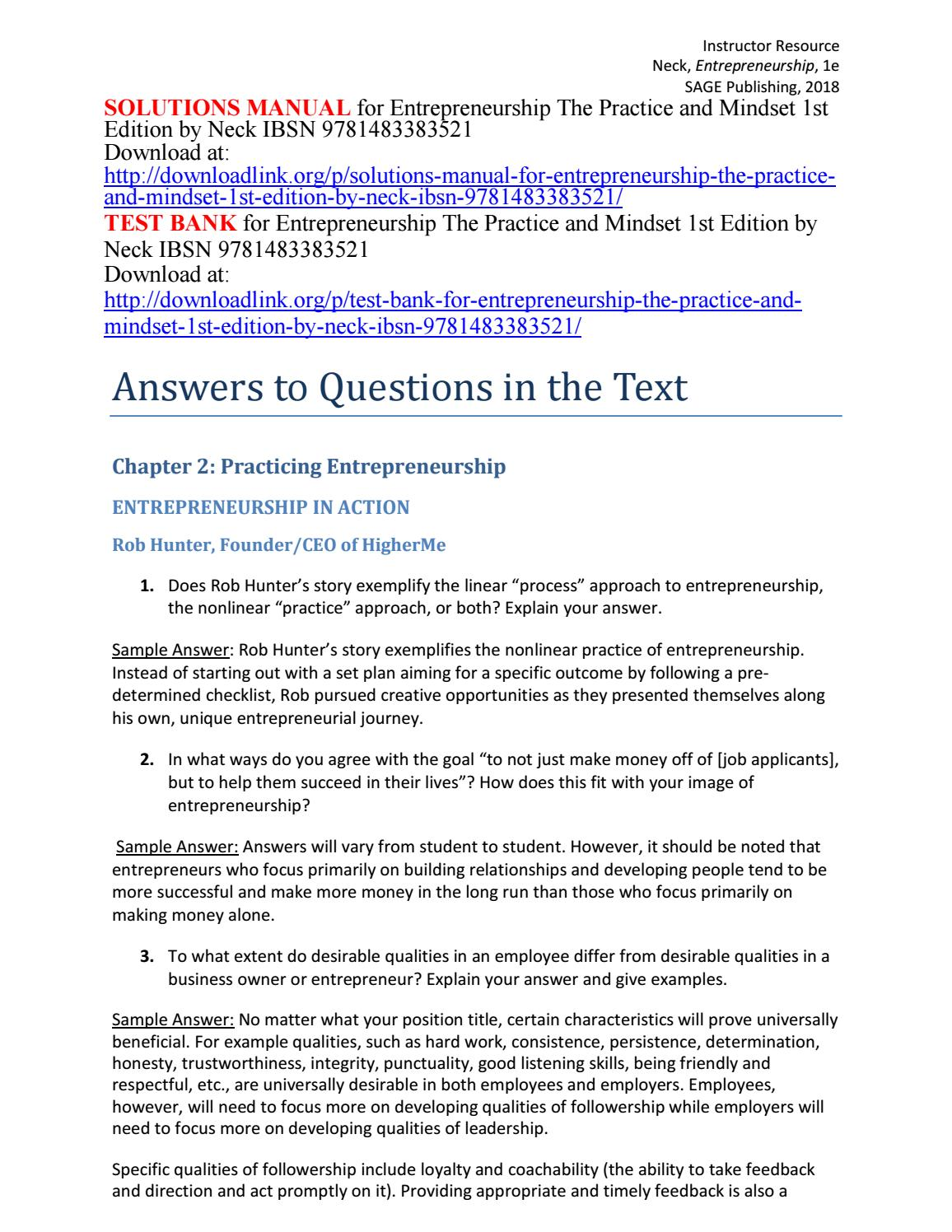 Entrepreneurial Success Checklist | Solutions Manual For Entrepreneurship The Practice And Mindset 1st