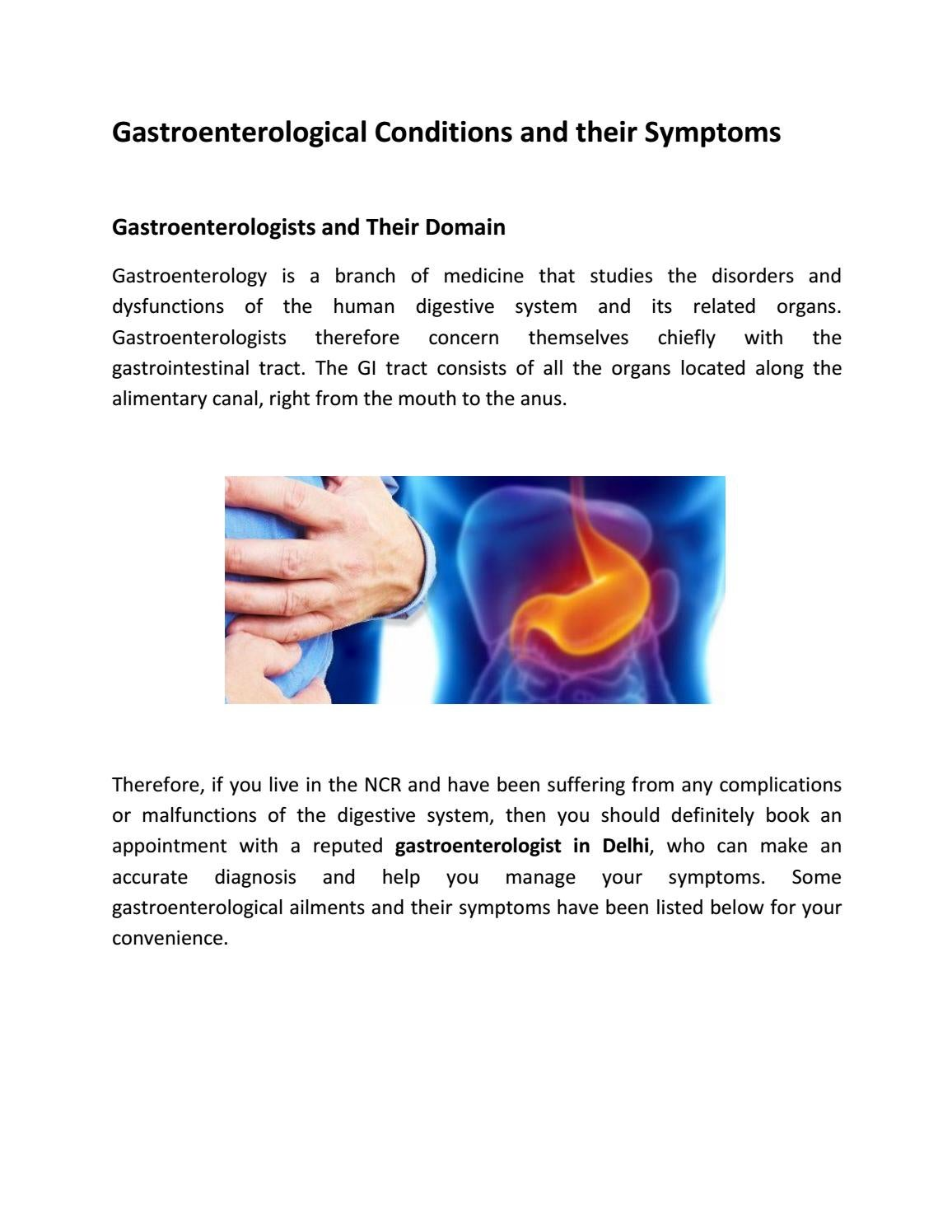 Gastroenterological Conditions and their Symptoms by Dr