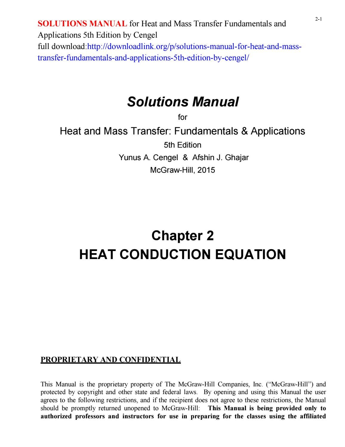 Solutions manual for heat and mass transfer fundamentals and applications  5th edition by cengel by Chapters999 - issuu
