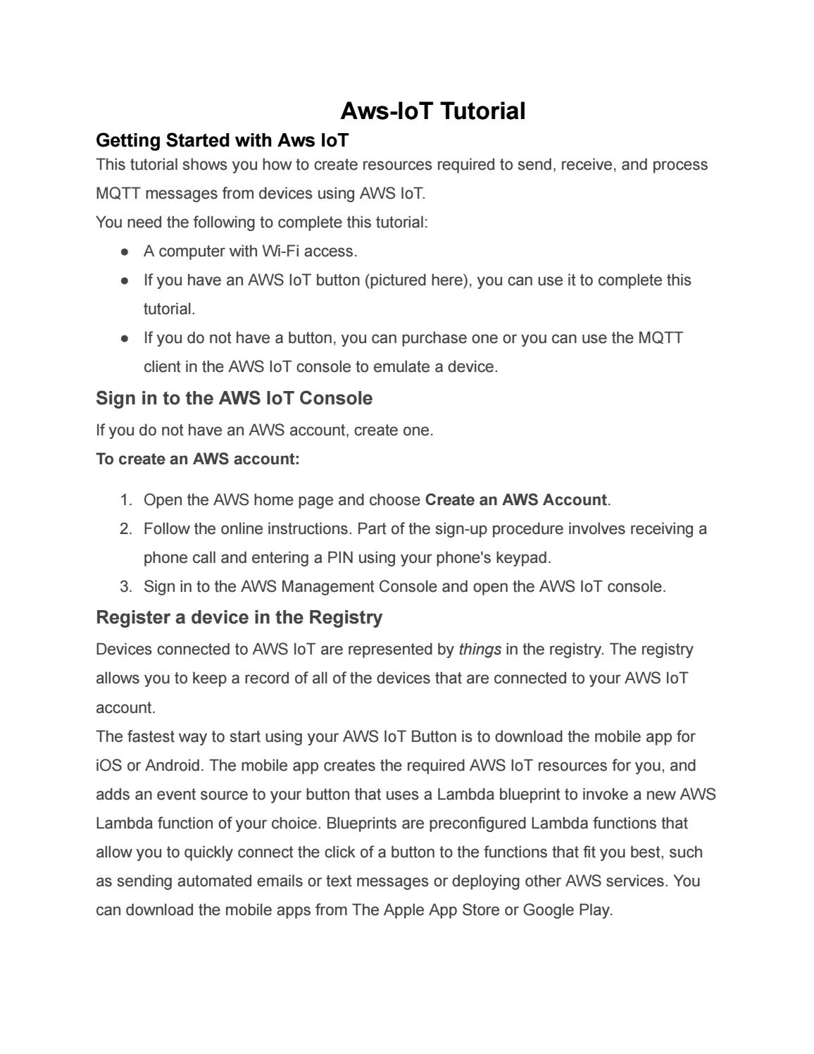 Aws iot tutorial google docs by lakshmisujatha2803 - issuu