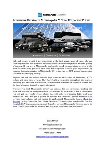 Limousine Service In Minneapolis Mn For Corporate Travel By Edina
