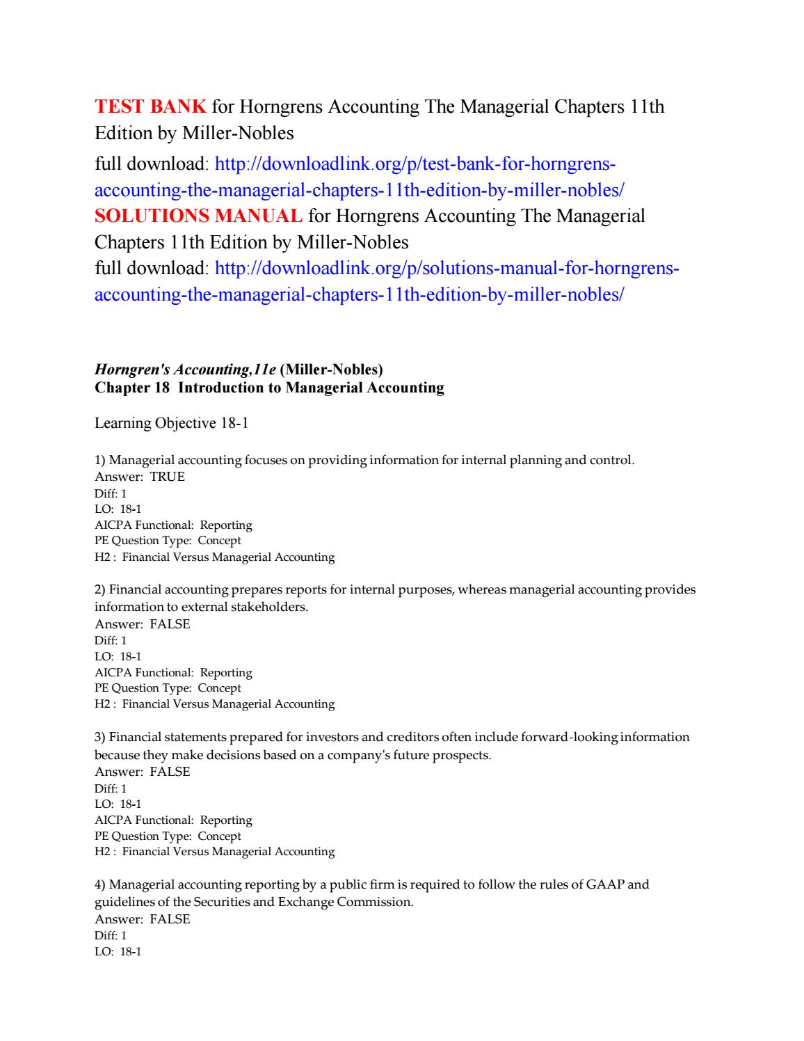 Test bank for horngrens accounting the managerial chapters 11th edition by  miller nobles by Jarvis222 - issuu