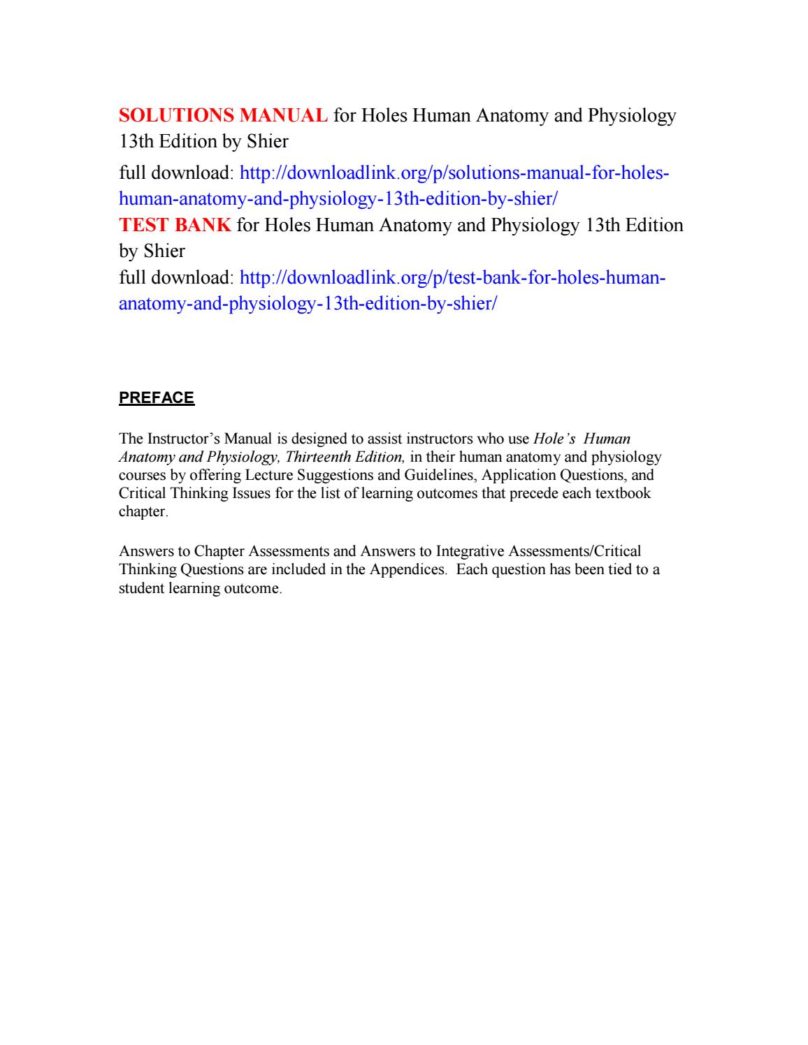 Solutions Manual For Holes Human Anatomy And Physiology 13th Edition