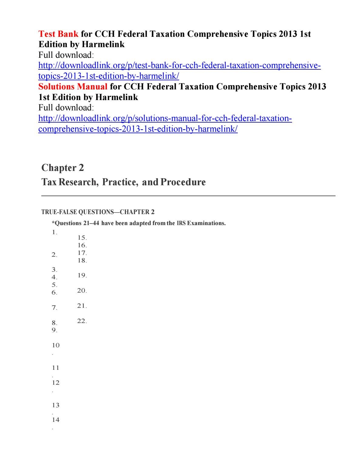 Test Bank For Cch Federal Taxation Comprehensive Topics