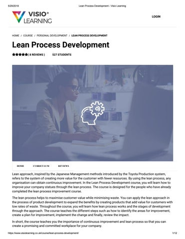 Lean Process Development - Visio Learning by Visio Learning
