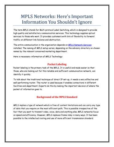 mpls networks information you shouldn\u0027t ignore by sandeepsrivastavampls networks information you shouldn\u0027t ignore