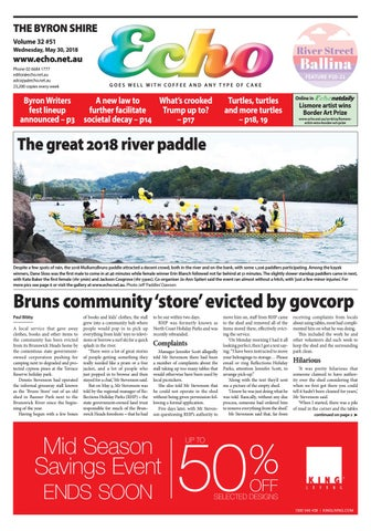 The Byron Shire Echo Issue 3251 May 30 2018 By Echo