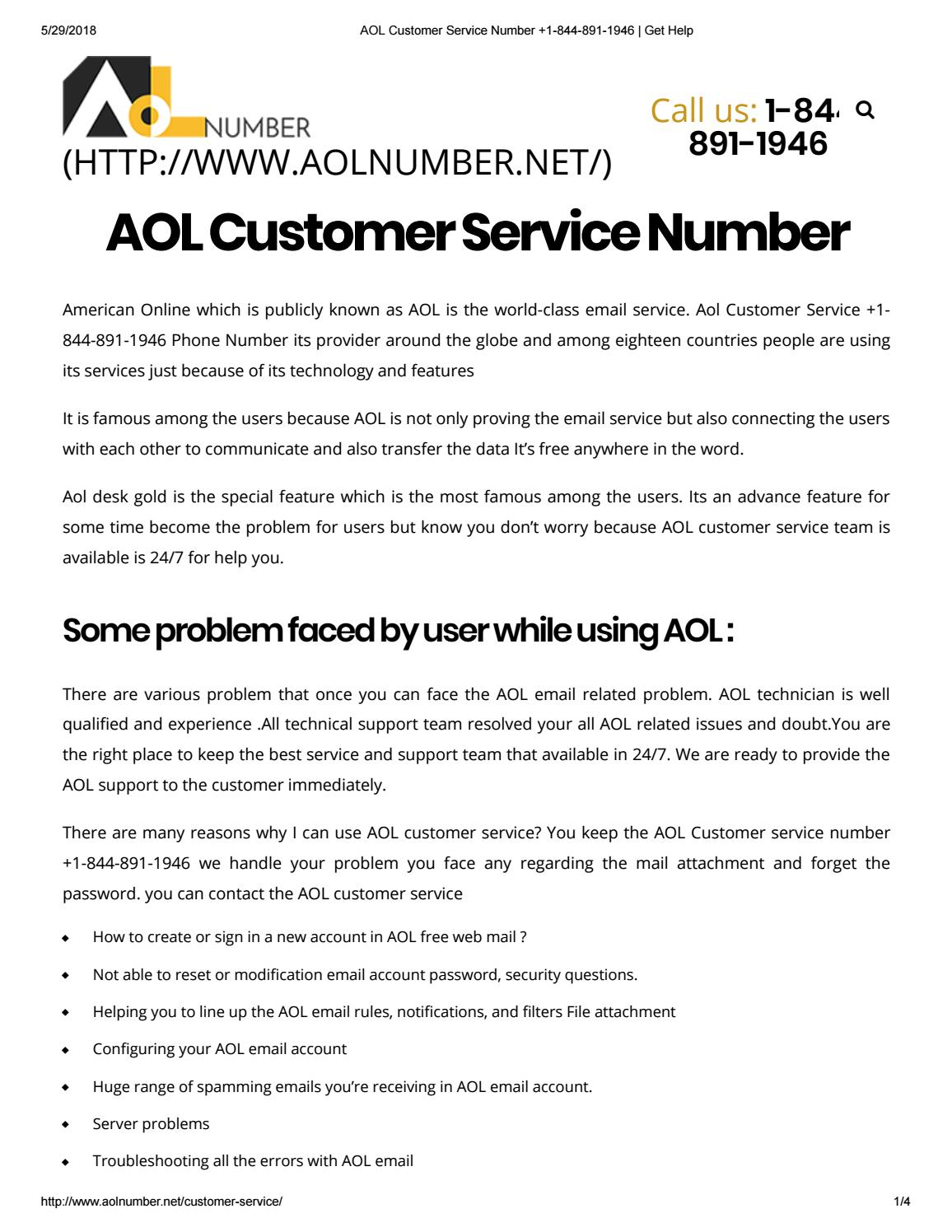 aol customer service number 1 844 891 1946 get help by himanshu