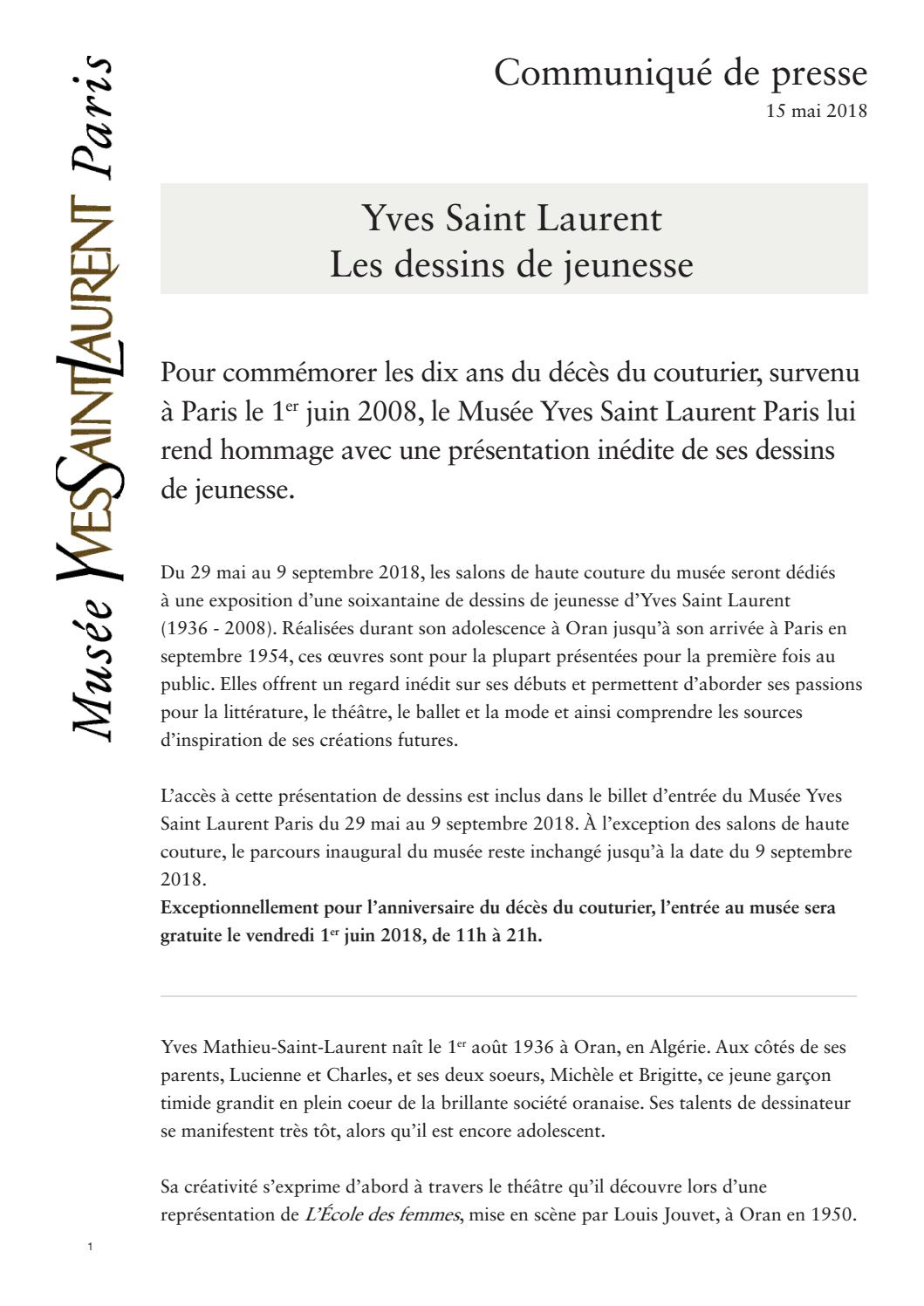 Exposition Yves Saint Laurent Les Dessins De Jeunesse