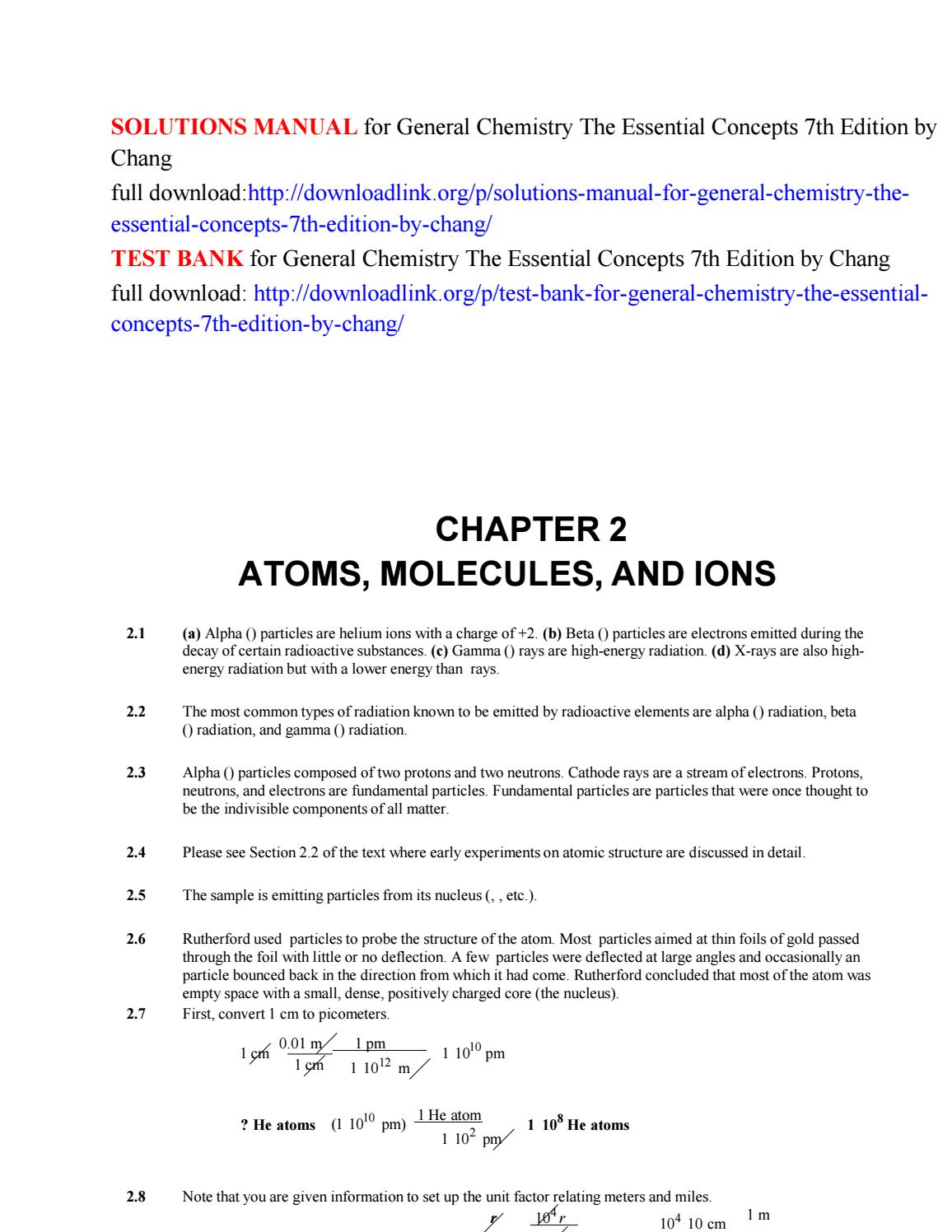 Solutions manual for general chemistry the essential concepts 7th edition  by chang by Mike223 - issuu