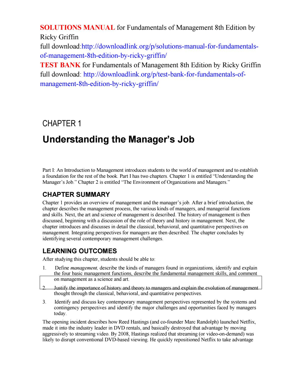 Solutions manual for fundamentals of management 8th edition by ricky  griffin by Cruz222 - issuu