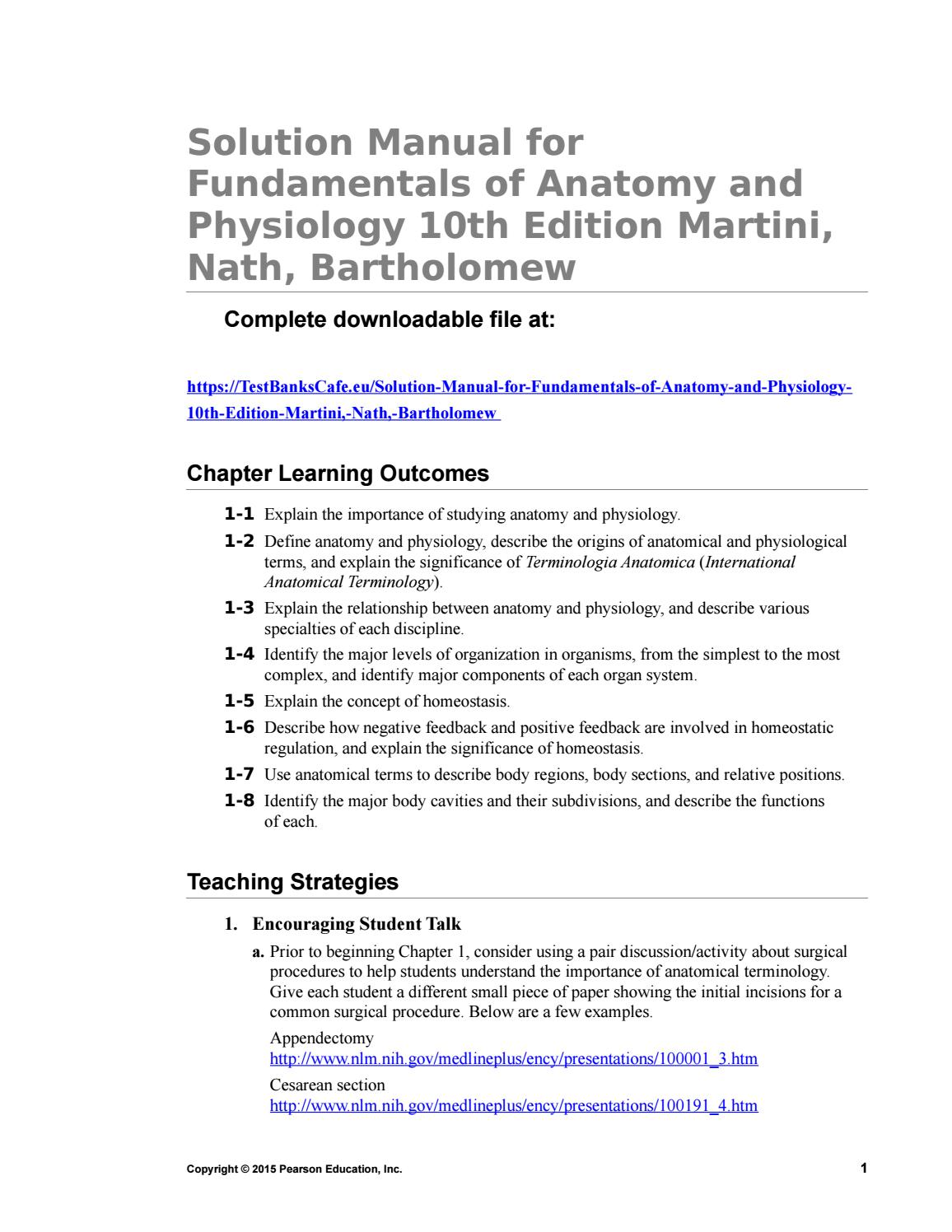Solution Manual for Fundamentals of Anatomy and Physiology 10th ...