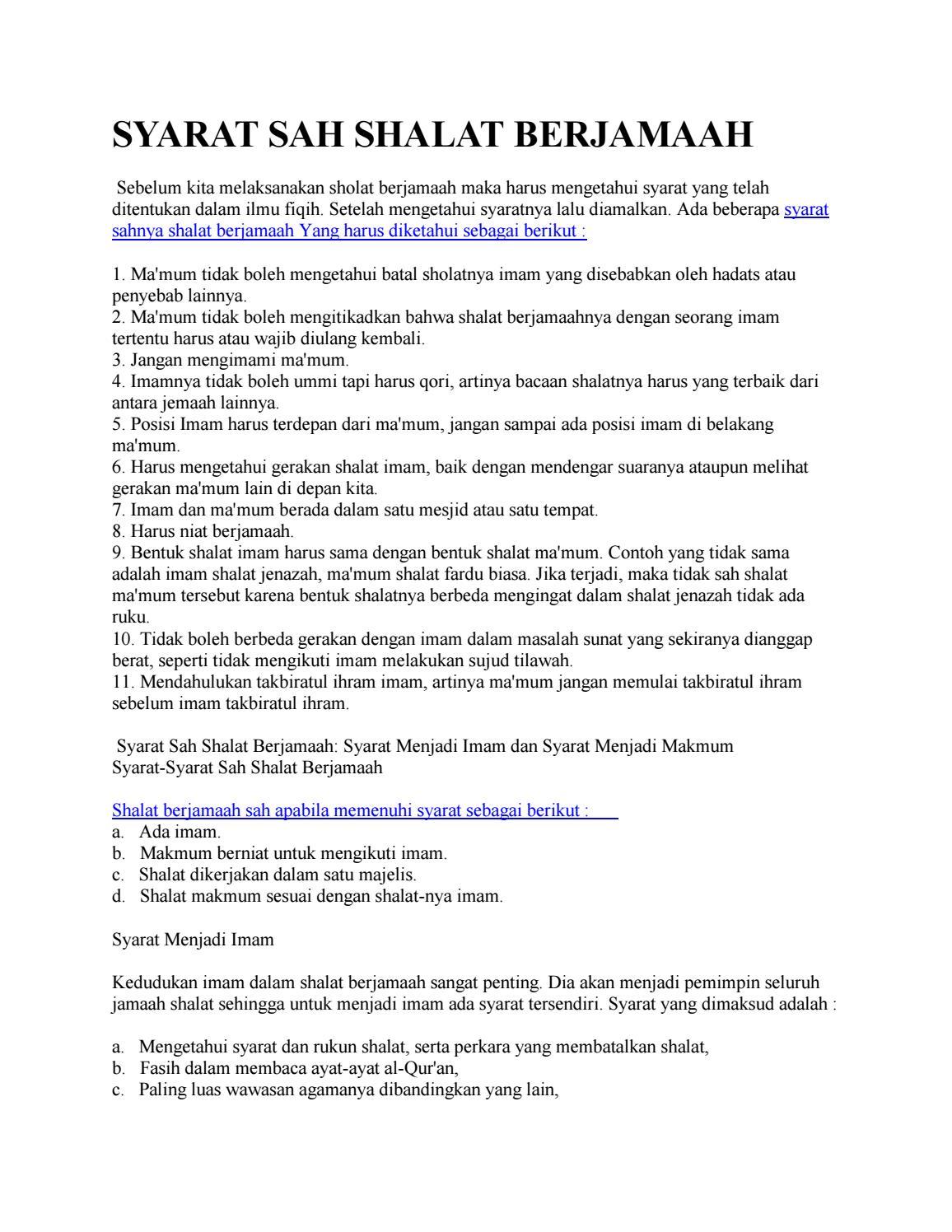 Syarat Sah Shalat Berjamaah By Mar Bawi Issuu