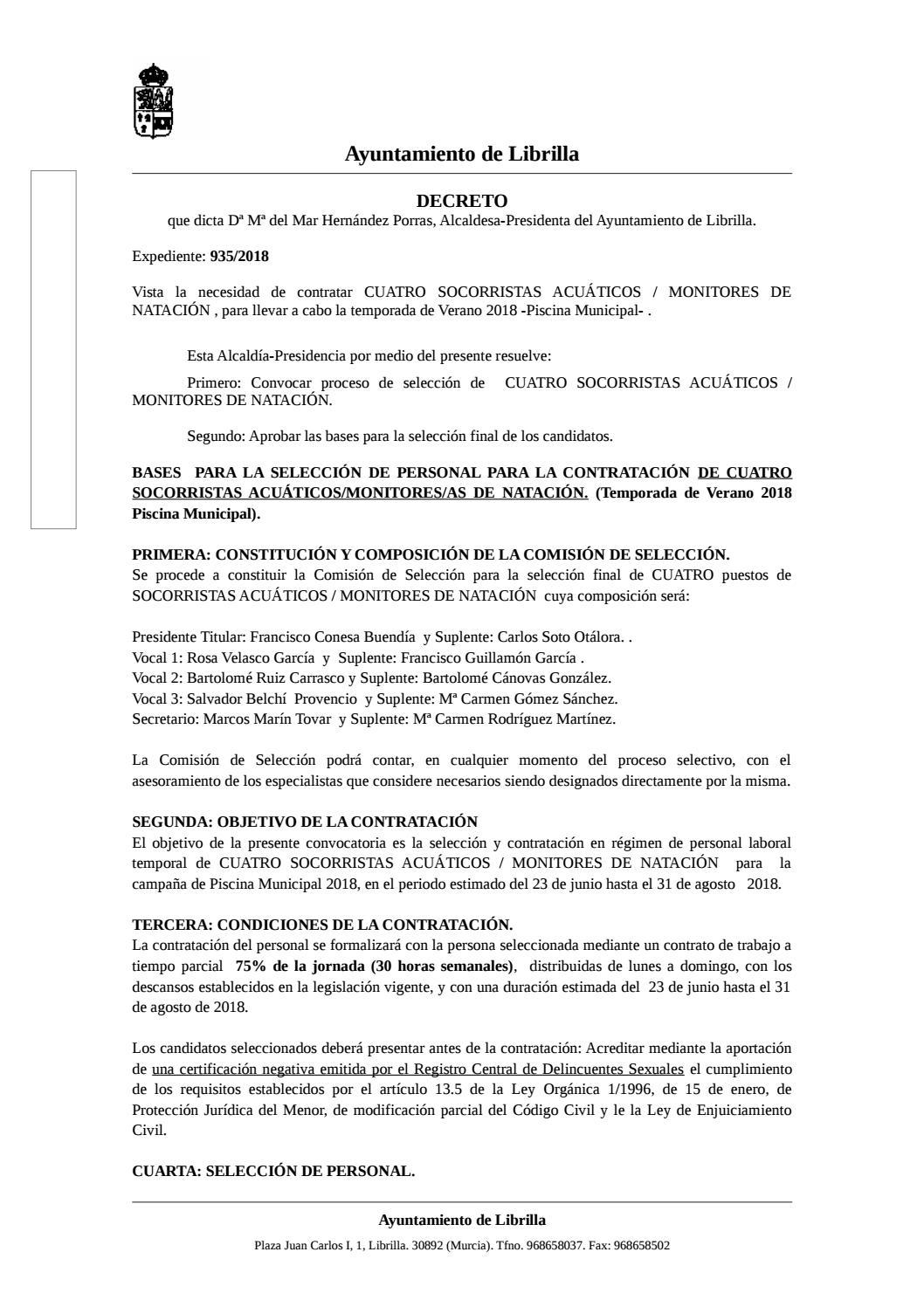 00bbf427b333 Contratación Monitores- Socorristas by Ayuntamiento de Librilla - issuu