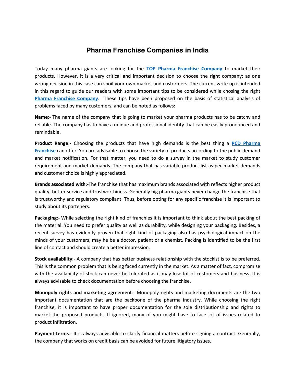 Pharma Franchisee Company By Crossland Pharma Issuu