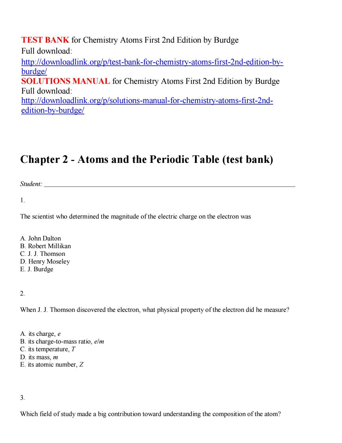 Test bank for chemistry atoms first 2nd edition by burdge by Nature123 -  issuu