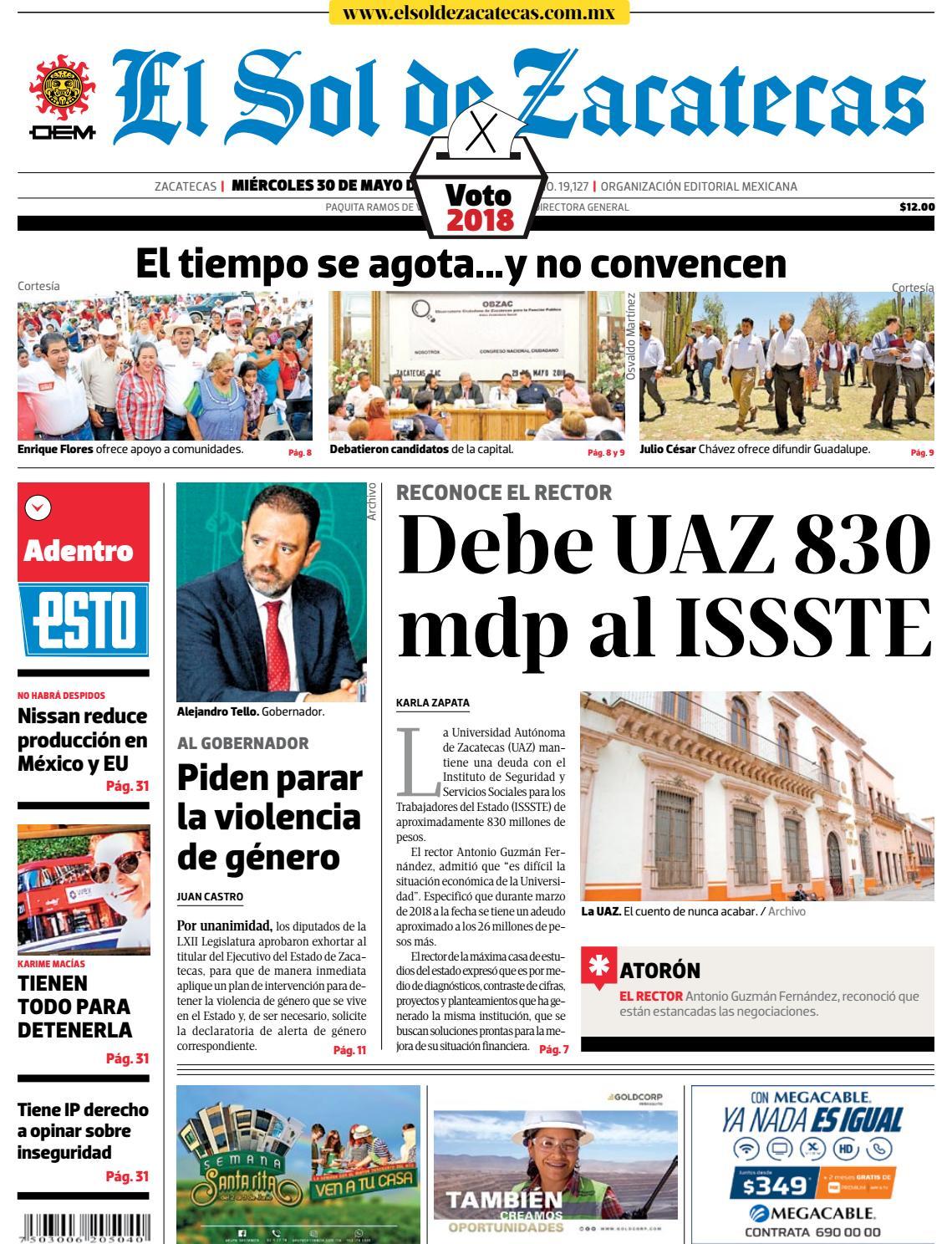 d5162e5e10e82 El Sol de Zacatecas 30 de mayo 2018 by El Sol de Zacatecas - issuu