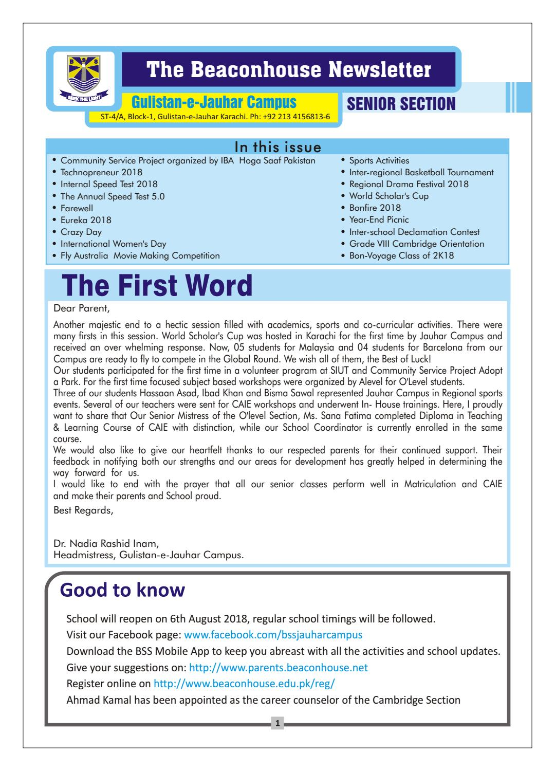 News Letter senior section2018-19 by Beaconhouse - issuu