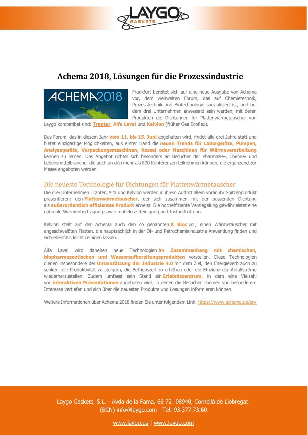 Achema 2018, Lösungen für die Prozessindustrie by Laygo Gaskets - issuu
